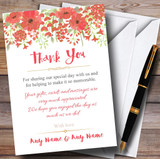 Watercolour Floral Coral Pink Customised Wedding Thank You Cards