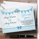 Vintage Rustic Style Bunting Powder Baby Blue Customised Thank You Cards