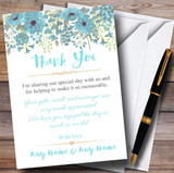 Watercolour Floral Blue Customised Wedding Thank You Cards