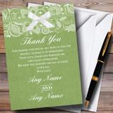 Vintage Sage Green Burlap & Lace Customised Wedding Thank You Cards
