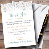 Coral & Blue Autumn Watercolour Customised Wedding Thank You Cards