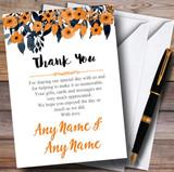 Watercolour Black & Orange Floral Header Customised Wedding Thank You Cards