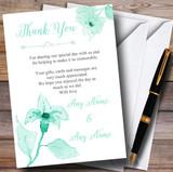 Beautiful Aqua Mint Green Watercolour Flowers Customised Thank You Cards