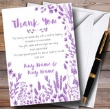 Dusty Purple Autumn Leaves Watercolour Customised Wedding Thank You Cards
