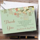 Vintage Shabby Chic Birdcage Green Customised Wedding Thank You Cards