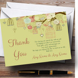 Vintage Shabby Chic Birdcage Gold Green Customised Wedding Thank You Cards