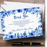 Watercolour Indigo Blue Floral Customised Wedding Thank You Cards