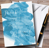 Sea Blue Watercolour Customised Wedding Thank You Cards