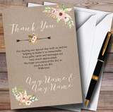 Rustic Vintage Watercolour Peach Floral Customised Wedding Thank You Cards