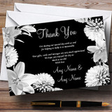 Stunning Lily Flower Black White Customised Wedding Thank You Cards