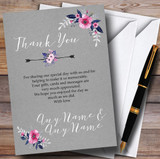 Rustic Vintage Watercolour Navy Blue & Silver Customised Thank You Cards
