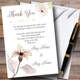 Beautiful Peach Watercolour Flowers Customised Wedding Thank You Cards