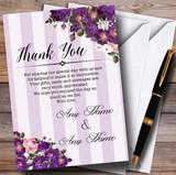 Cadbury Purple Rose & Stripes Vintage Customised Wedding Thank You Cards
