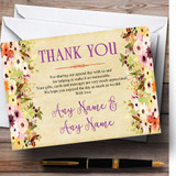 Vintage Spring Watercolour Customised Wedding Thank You Cards