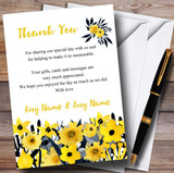 Black & Yellow Watercolour Flowers Customised Wedding Thank You Cards