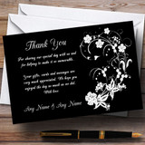 Black White Floral Customised Wedding Thank You Cards