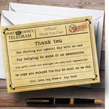 Vintage Telegram Typewritten Customised Wedding Thank You Cards