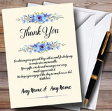 Watercolour Blue Floral Rustic Customised Wedding Thank You Cards