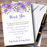 Watercolour Floral Purple Customised Wedding Thank You Cards