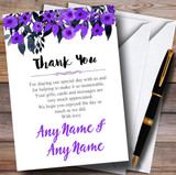 Watercolour Black & Purple Floral Header Customised Wedding Thank You Cards