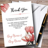 Watercolour Coral Magnolias Customised Wedding Thank You Cards