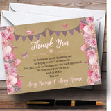 Lilac & Pink Rustic Bunting & Floral Customised Wedding Thank You Cards