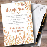 Golden Autumn Leaves Watercolour Customised Wedding Thank You Cards