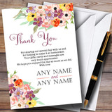 Floral Watercolour Bouquet Customised Wedding Thank You Cards