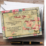 Floral Vintage Paris Shabby Chic Postcard Customised Wedding Thank You Cards