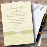 Cream Pale Gold Beige Floral Damask Diamante Customised Thank You Cards