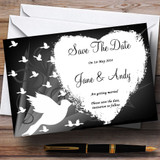 Black With White Doves Customised Wedding Save The Date Cards