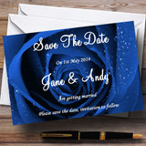 Stunning Royal Blue Rose Customised Wedding Save The Date Cards