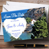 Heart St Pauls Lindos Rhodes Jetting Off Abroad Customised Wedding Save The Date Cards