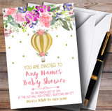 Floral Gold Hot Air Balloon Invitations Baby Shower Invitations