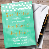 Mint Green & Gold Lights Watercolour Customised Wedding Save The Date Cards
