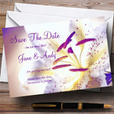Purple Beautiful Lily Flower Customised Wedding Save The Date Cards