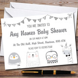 Greyscale Animals Invitations Baby Shower Invitations