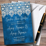 Vintage Blue Old Paper & Vintage Lace Effect Customised Save The Date Cards