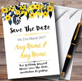 Watercolour Black & Yellow Floral Header Customised Save The Date Cards