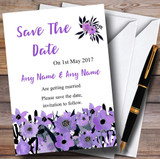 Black & Purple Watercolour Flowers Customised Wedding Save The Date Cards
