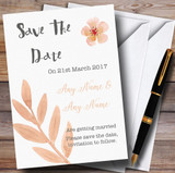 Watercolour Subtle Coral Pink Peach Customised Wedding Save The Date Cards