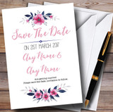 Navy Blue & Pink Subtle Floral Customised Wedding Save The Date Cards