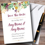 Autumn Plum Watercolour Floral Header Customised Wedding Save The Date Cards