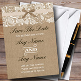 Vintage Burlap & Lace Customised Wedding Save The Date Cards