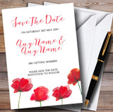 Stunning Watercolour Poppies Red Customised Wedding Save The Date Cards