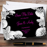 Stunning Lily Flowers Black Pink White Customised Wedding Save The Date Cards