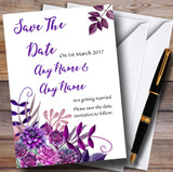 Cadbury Purple Watercolour Florals Customised Wedding Save The Date Cards
