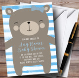 Large Teddy Bear Blue Invitations Baby Shower Invitations