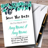Watercolour Black & Aqua Green Floral Header Customised Save The Date Cards