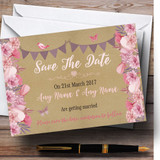 Lilac & Pink Rustic Bunting & Floral Customised Wedding Save The Date Cards